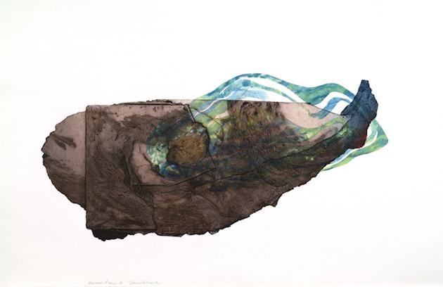 JT. Murmure d'eau, collagraphie chine collé, impression taille-douce, 1/1, 75 x 112 cm
