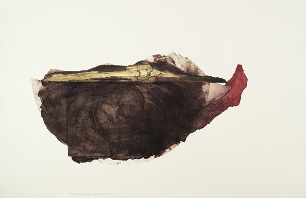 JT. Porteuse de paysage 1, collagraphie, impression taille-douce, 1/1, 75 x 112 cm
