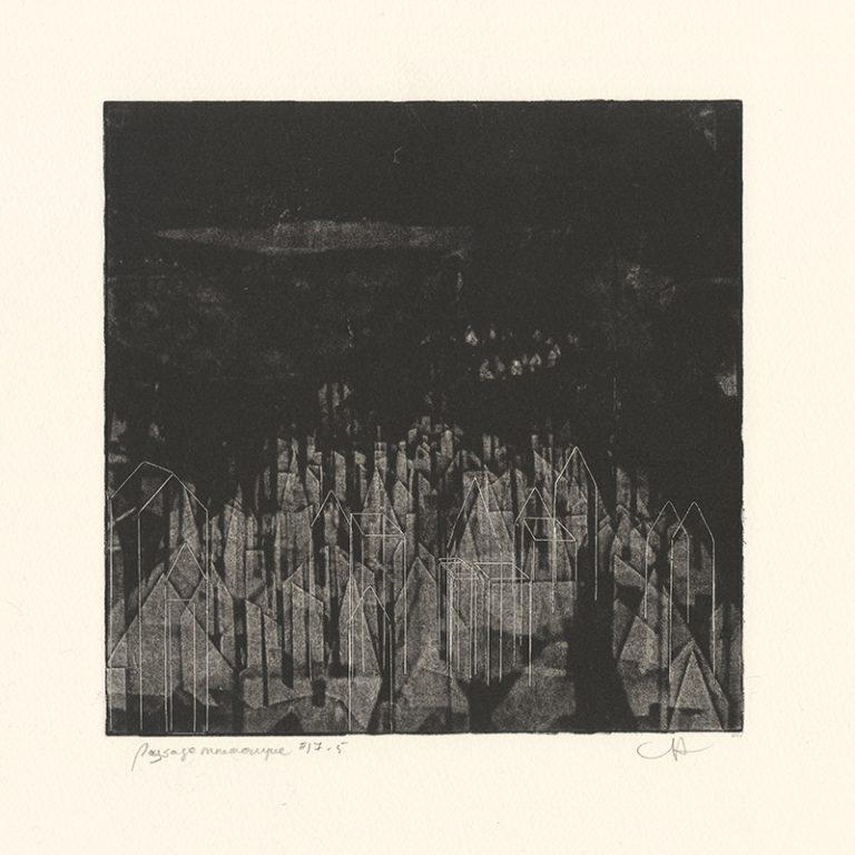 JT. PM ville 17-5, monotype impression taille-douce, 28 cm x 28 cm