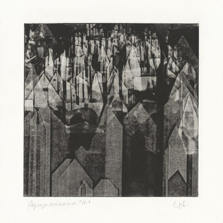 JT. PM ville 17-7, monotype impression taille-douce, 28 cm x 28 cm