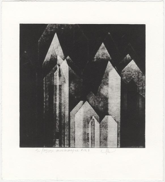 JT. PM ville 15-3, monotype impression taille-douce, 28 cm x 28 cm