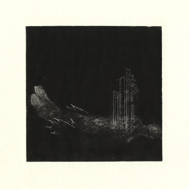 jT. Paysage mnémonique_23, dessin monotype, 28 x 28 cm, projet de résidence réalisé à Martha Street studio, Winnipeg, Manitoba