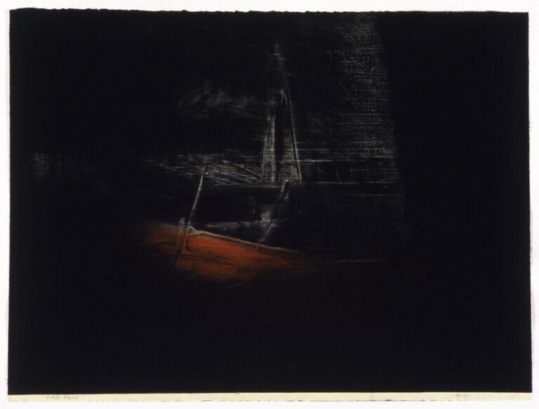 jT. Rouge repère, estampe lauréate 1999 Loto Québec, 65 x 76 cm
