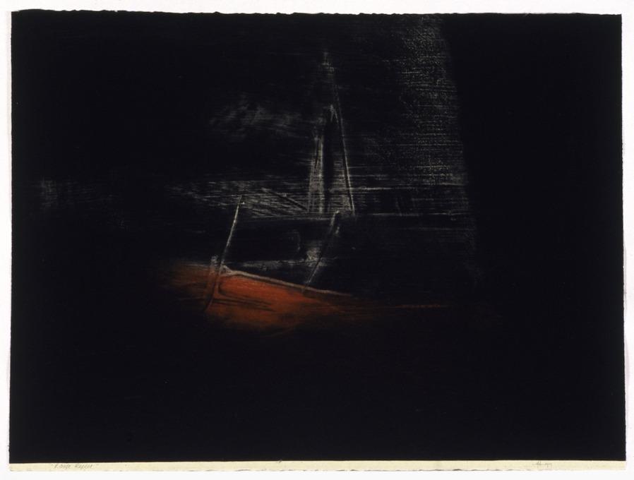 jT. RR Rouge repère, estampe lauréate 1999 Loto Québec, 65 x 76 cm