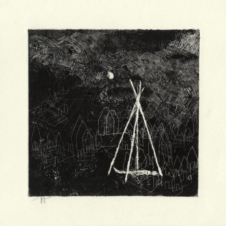 jT. Paysage mnémonique_1, «Songe», dessin monotype, 28 x 28 cm