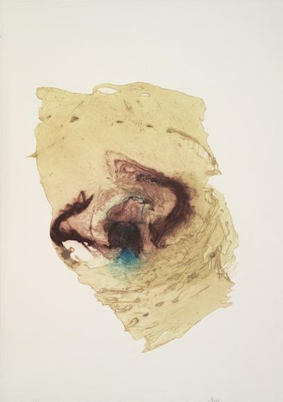 jT. Plasma magmatique chute d'une masse, estampe, collagraphie 110 x 72 cm